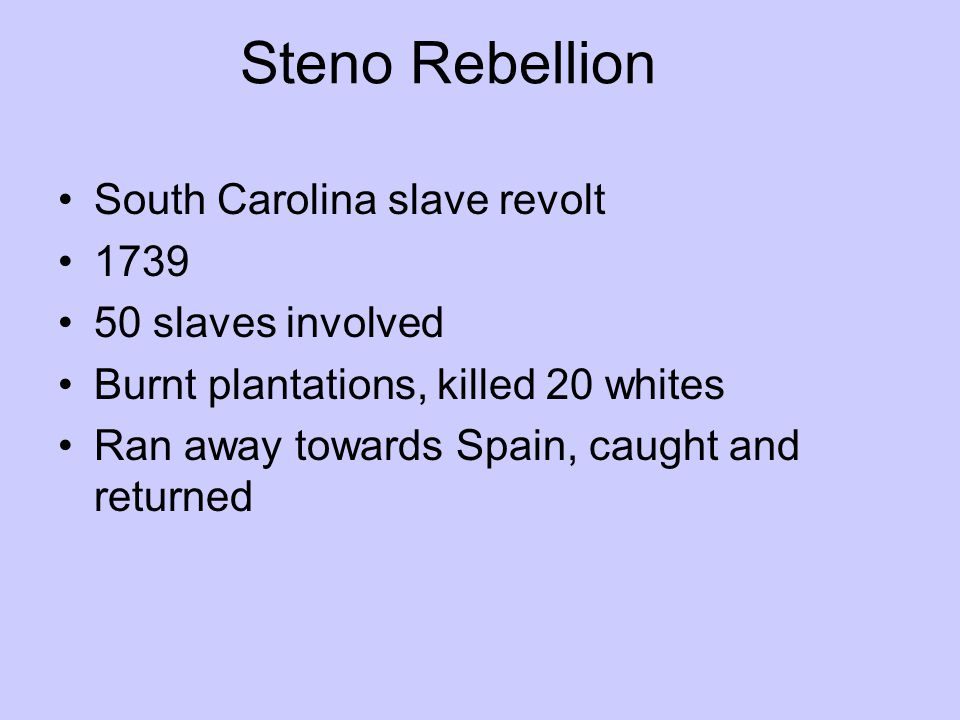 Steno Rebellion South Carolina slave revolt 1739 50 slaves involved