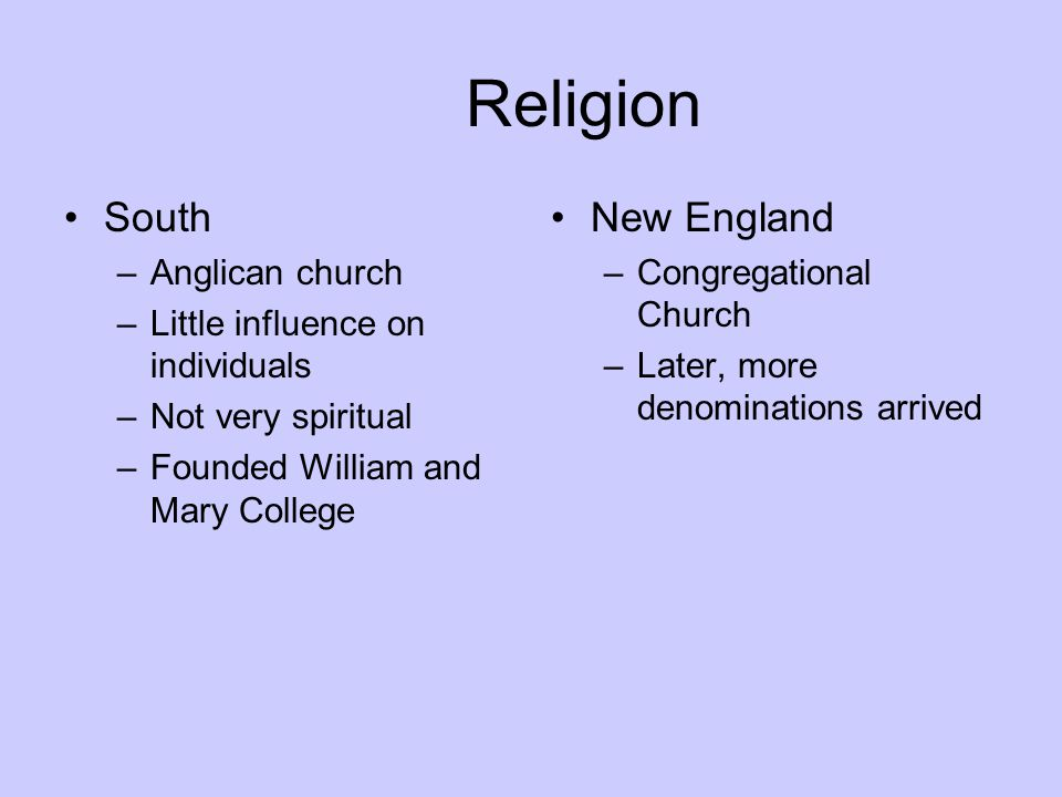 Religion South New England Anglican church