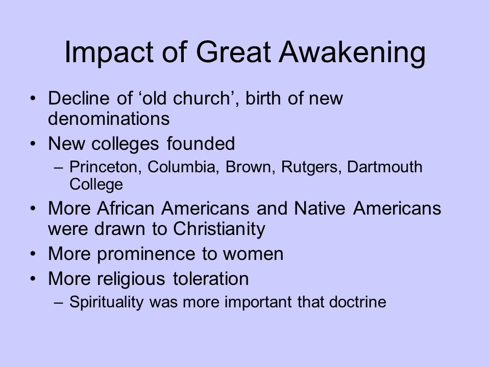 Impact of Great Awakening