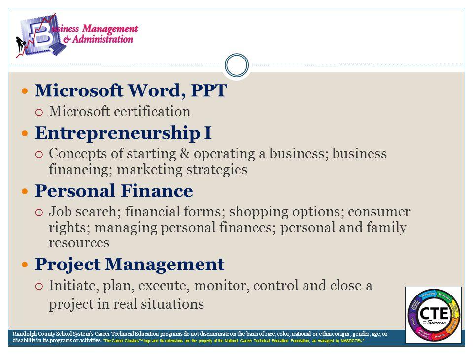 Microsoft Word, PPT Entrepreneurship I Personal Finance