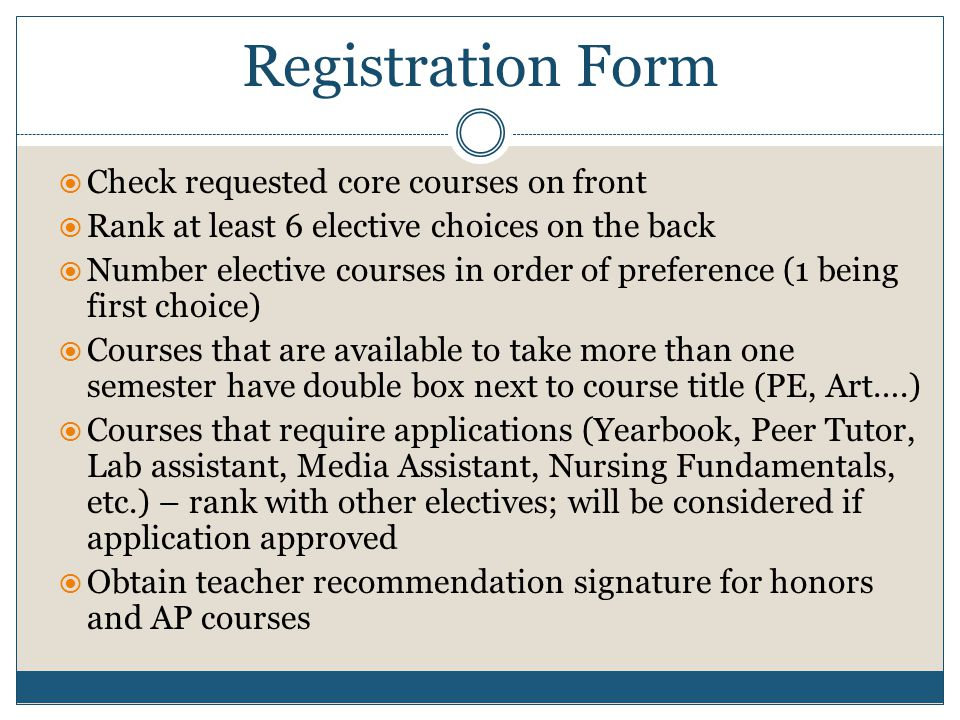 Registration Form Check requested core courses on front
