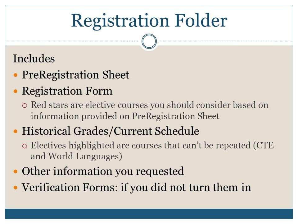 Registration Folder Includes PreRegistration Sheet Registration Form