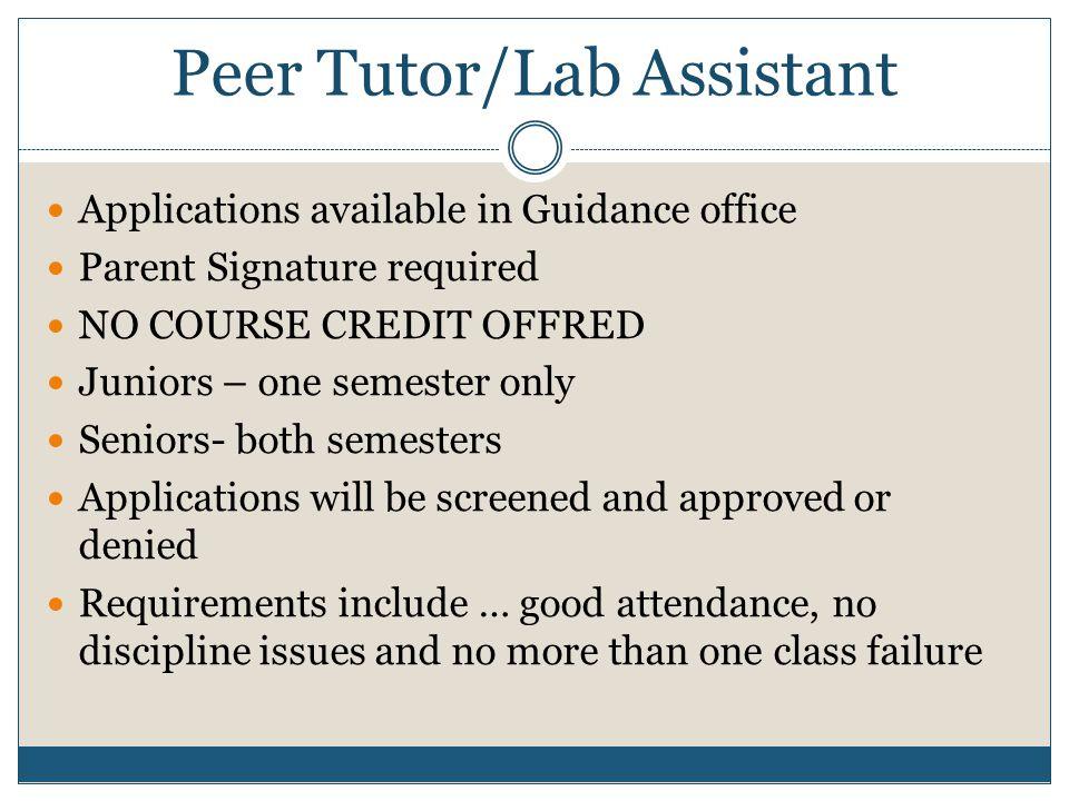 Peer Tutor/Lab Assistant