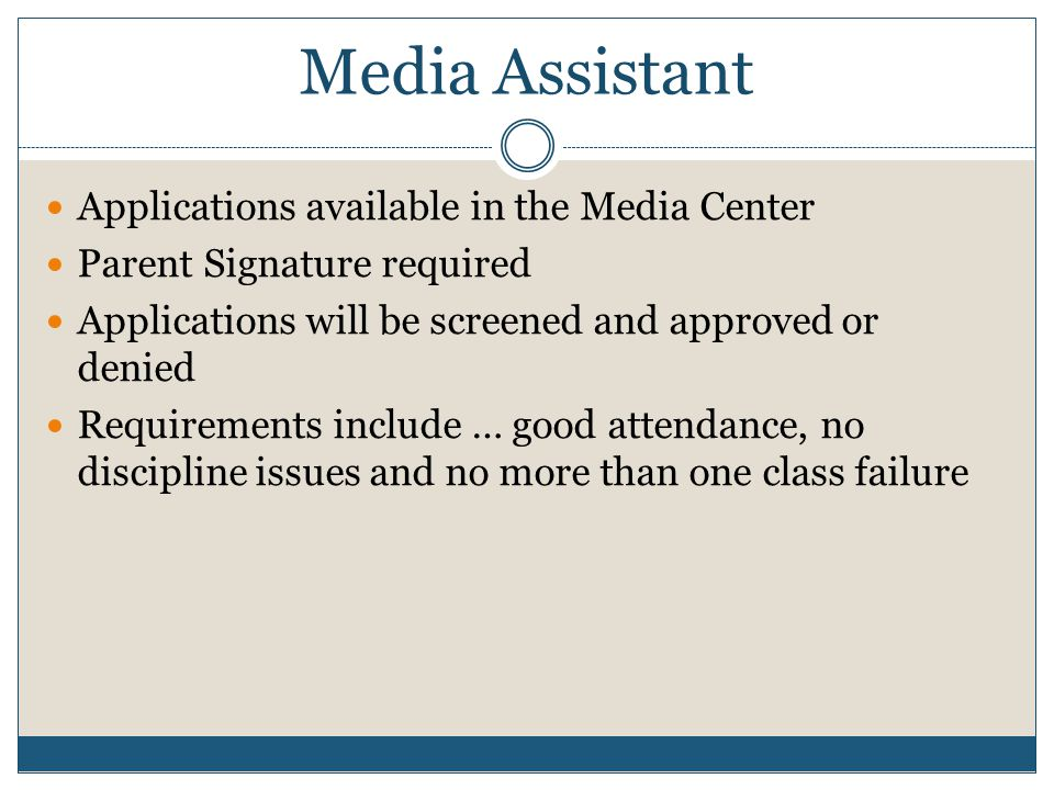 Media Assistant Applications available in the Media Center