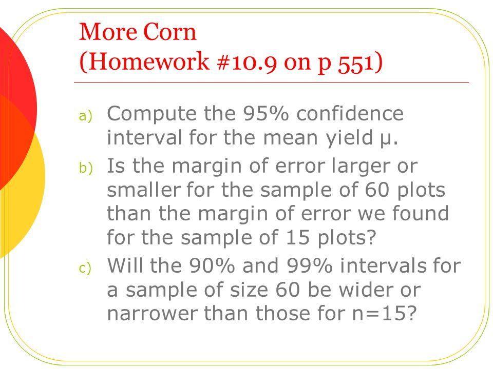 More Corn (Homework #10.9 on p 551)