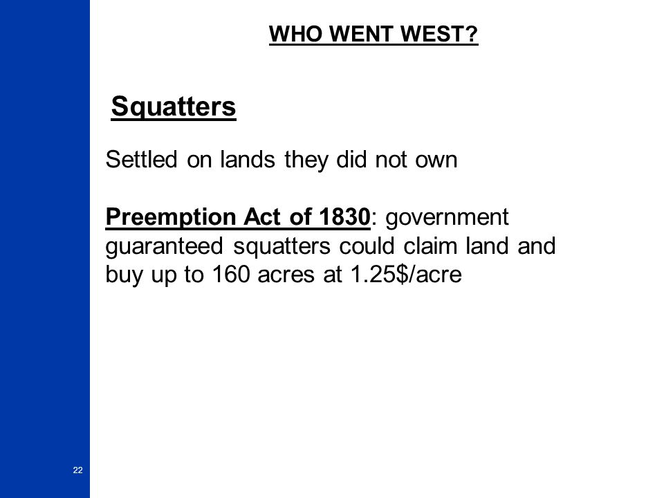 Squatters Settled on lands they did not own