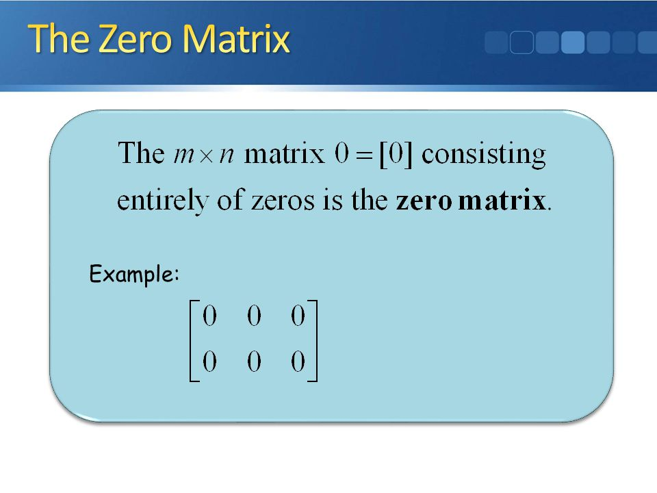 The Zero Matrix Example: