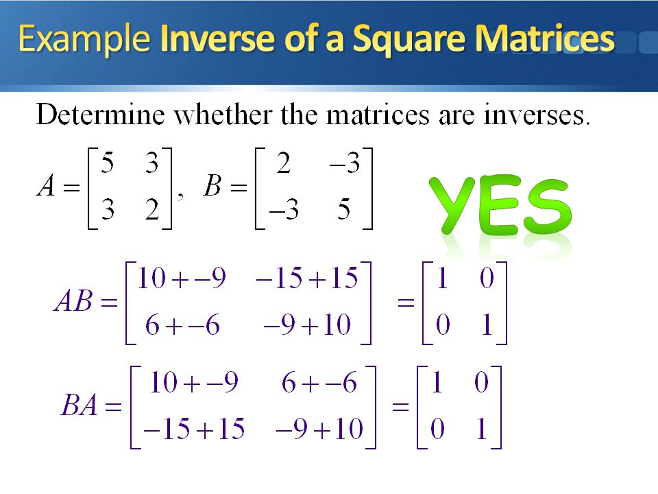 Example Inverse of a Square Matrices