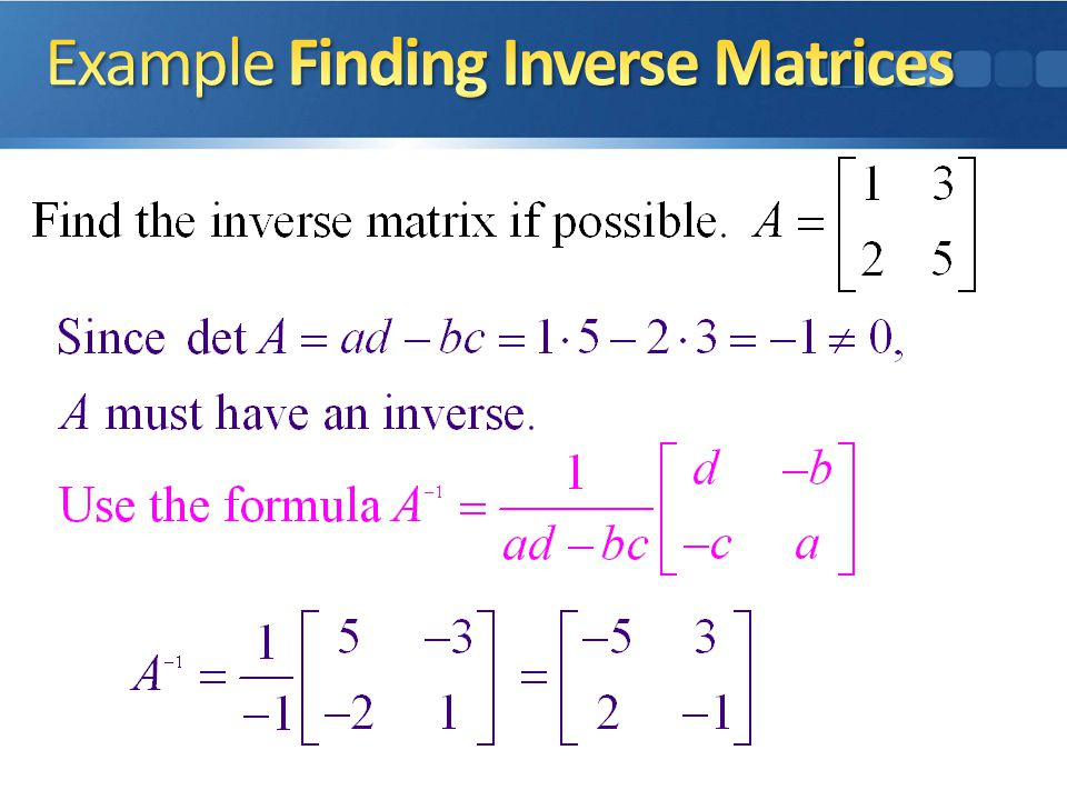 Example Finding Inverse Matrices