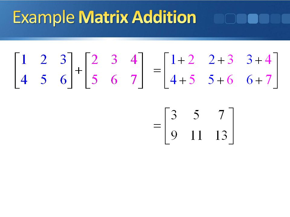 Example Matrix Addition