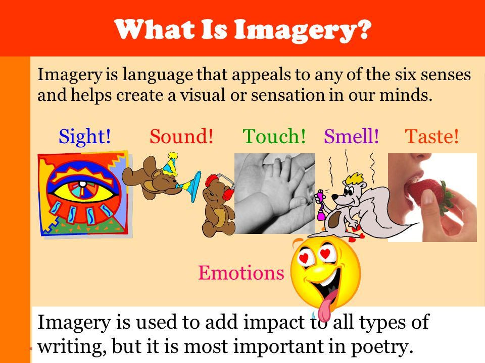 What Is Imagery Sight! Sound! Touch! Smell! Taste! Emotions