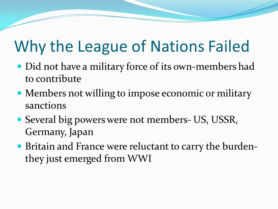 League of nations failures
