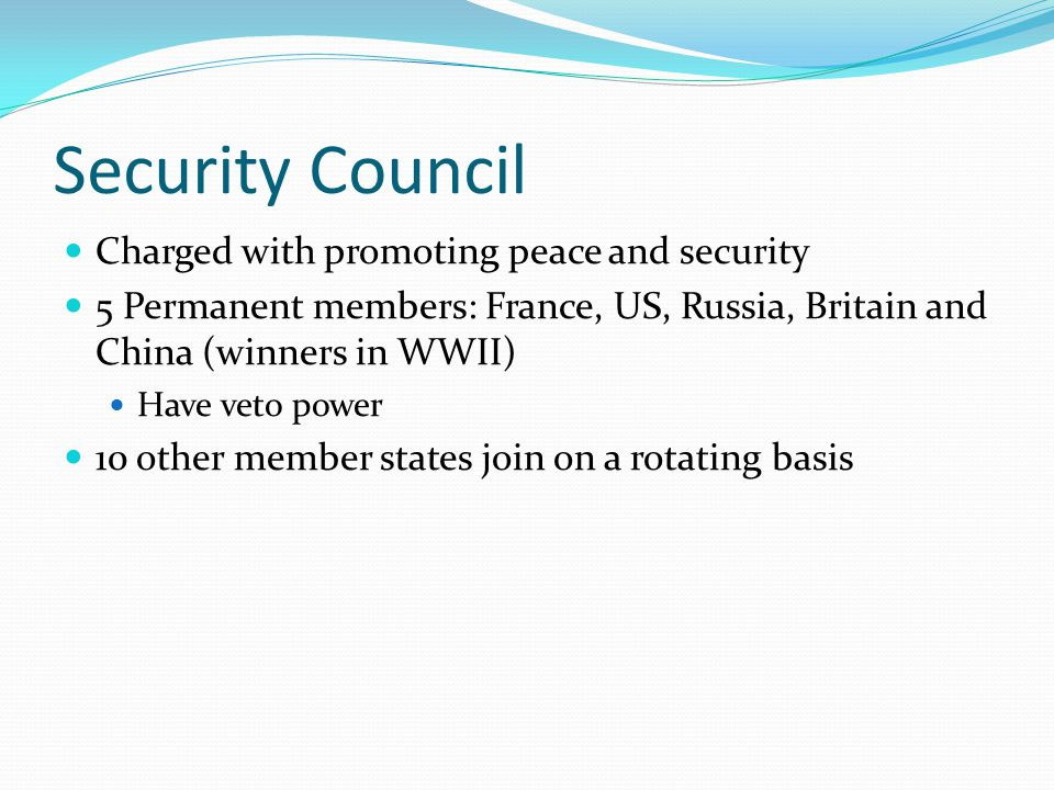 Security Council Charged with promoting peace and security