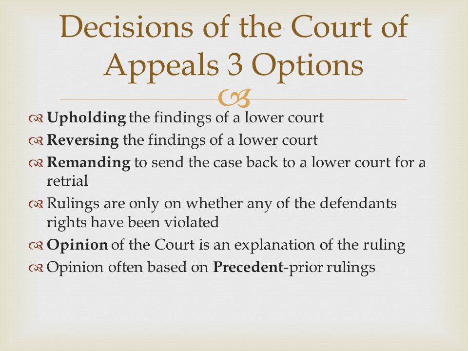 Decisions of the Court of Appeals 3 Options