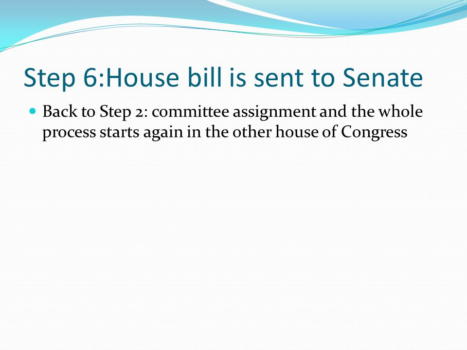 Step 6:House bill is sent to Senate