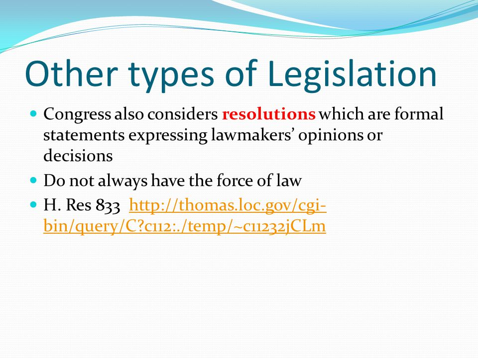 Other types of Legislation