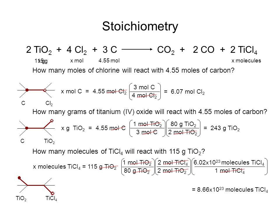 Stoichiometry 2 TiO2 + 4 Cl2 + 3 C CO2 + 2 CO + 2 TiCl4