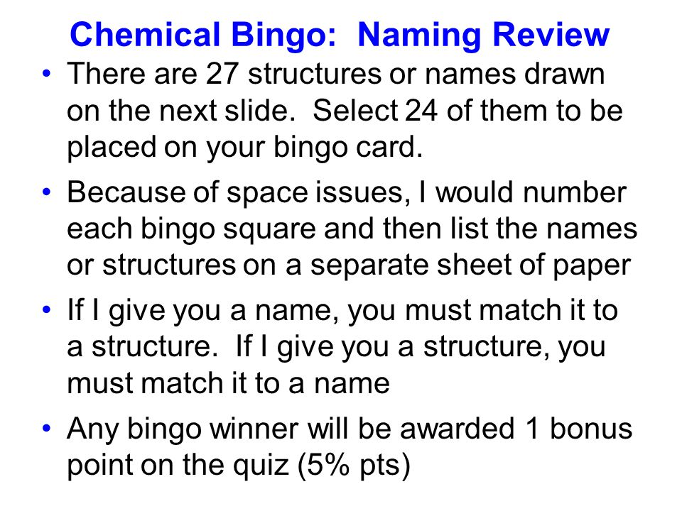 Chemical Bingo: Naming Review