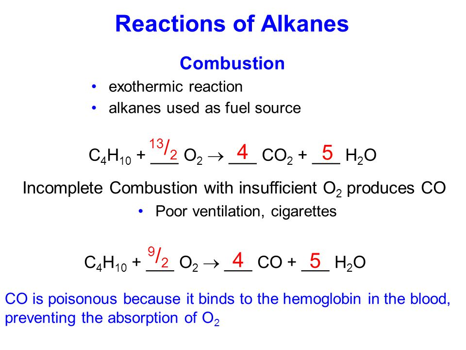 Reactions of Alkanes 13/2 4 5 9/2 4 5 Combustion