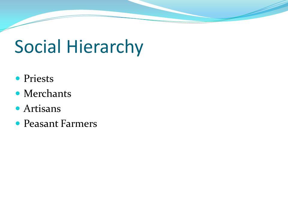 Social Hierarchy Priests Merchants Artisans Peasant Farmers