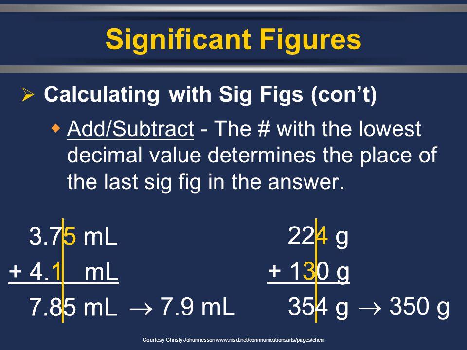 Significant Figures 3.75 mL + 4.1 mL 7.85 mL 3.75 mL + 4.1 mL 7.85 mL