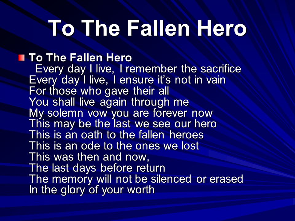 To The Fallen Hero