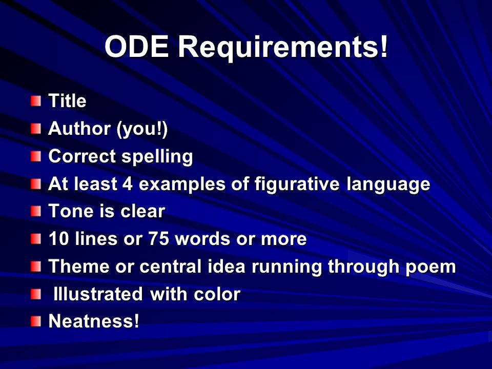 ODE Requirements! Title Author (you!) Correct spelling