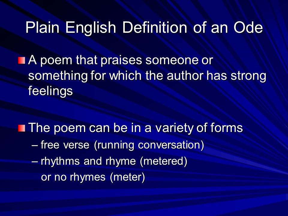 Plain English Definition of an Ode