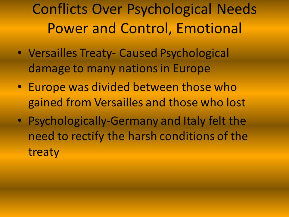 Conflicts Over Psychological Needs Power and Control, Emotional
