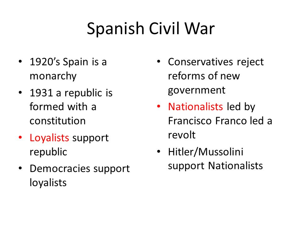 Spanish Civil War 1920's Spain is a monarchy