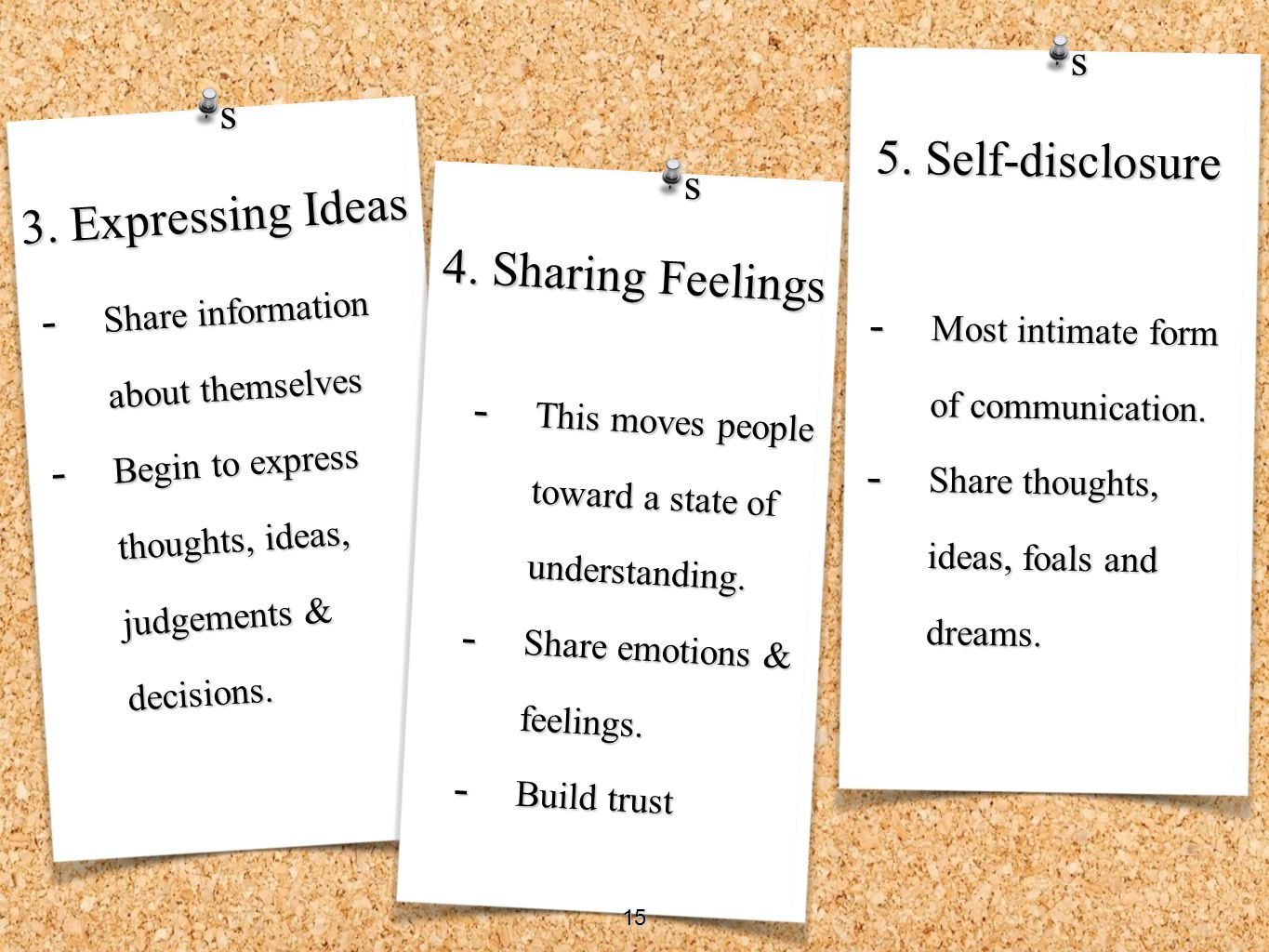 5. Self-disclosure 3. Expressing Ideas 4. Sharing Feelings s s s