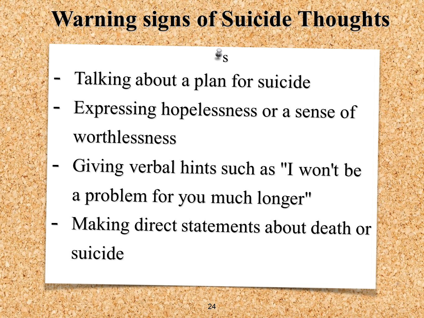 Warning signs of Suicide Thoughts