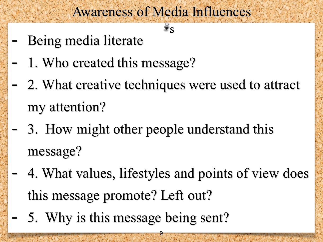 Awareness of Media Influences
