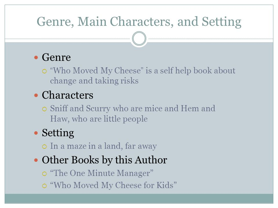 Genre, Main Characters, and Setting