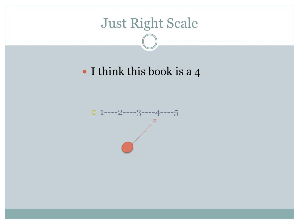 Just Right Scale I think this book is a 4 1----2----3----4----5