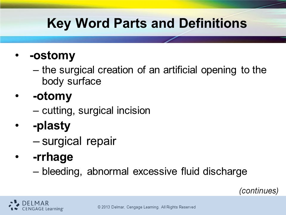 Key Word Parts and Definitions
