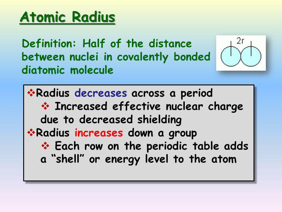 Periodic trends ppt video online download periodic trends 2 atomic radius definition urtaz Images