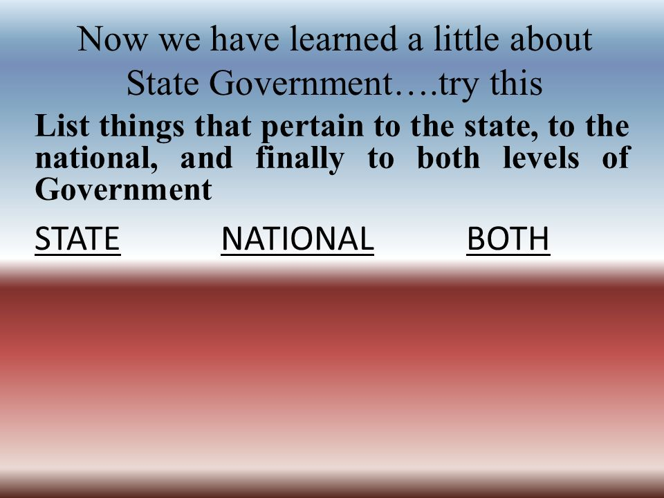 Now we have learned a little about State Government….try this