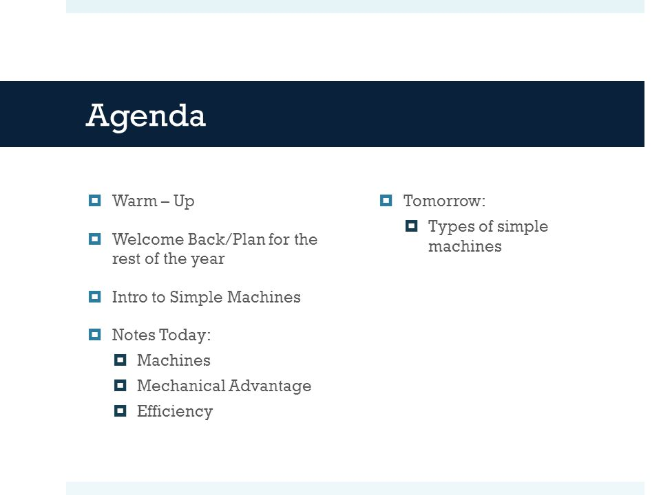 Agenda Warm – Up Welcome Back/Plan for the rest of the year
