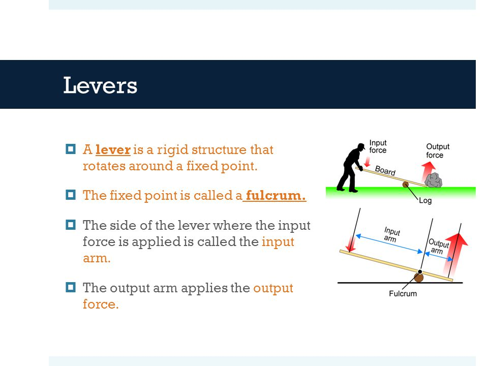 Levers A lever is a rigid structure that rotates around a fixed point.