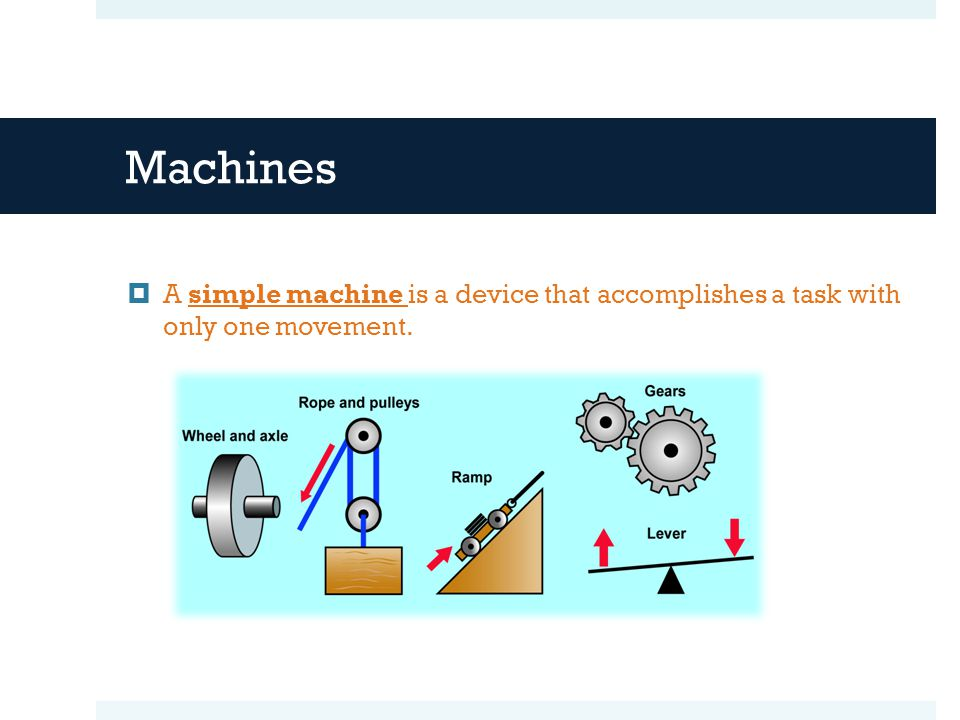 Machines A simple machine is a device that accomplishes a task with only one movement.