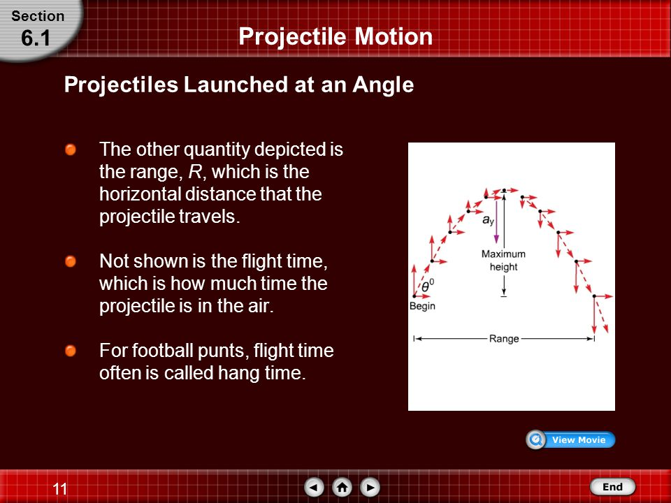 Projectile Motion 6.1 Projectiles Launched at an Angle