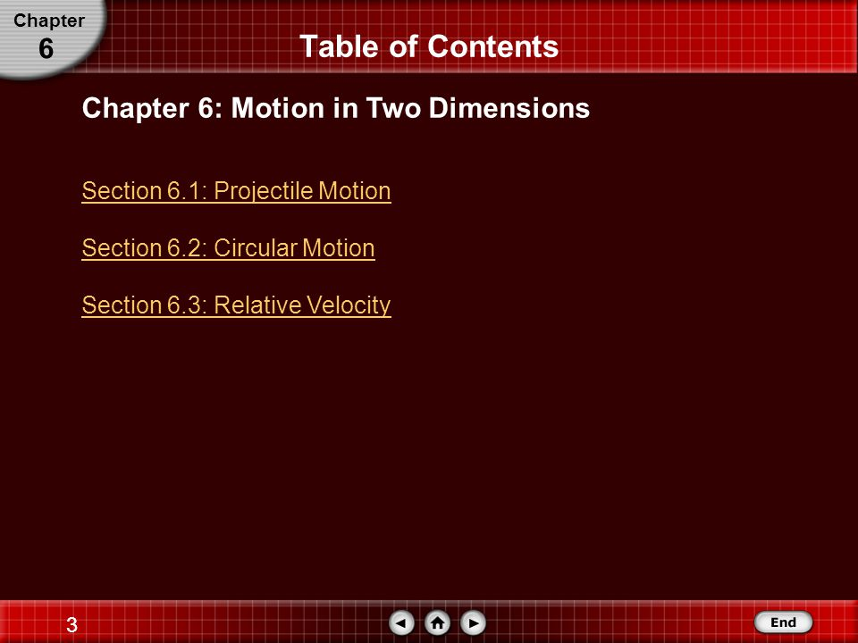 Table of Contents 6 Chapter 6: Motion in Two Dimensions