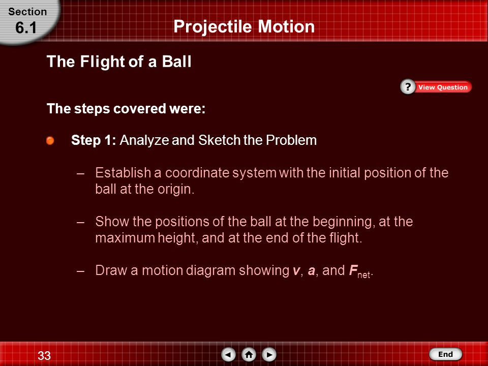 Projectile Motion 6.1 The Flight of a Ball The steps covered were: