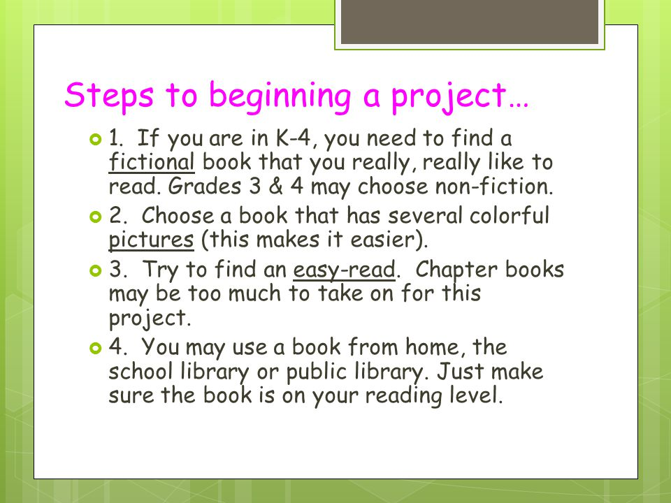 Steps to beginning a project…
