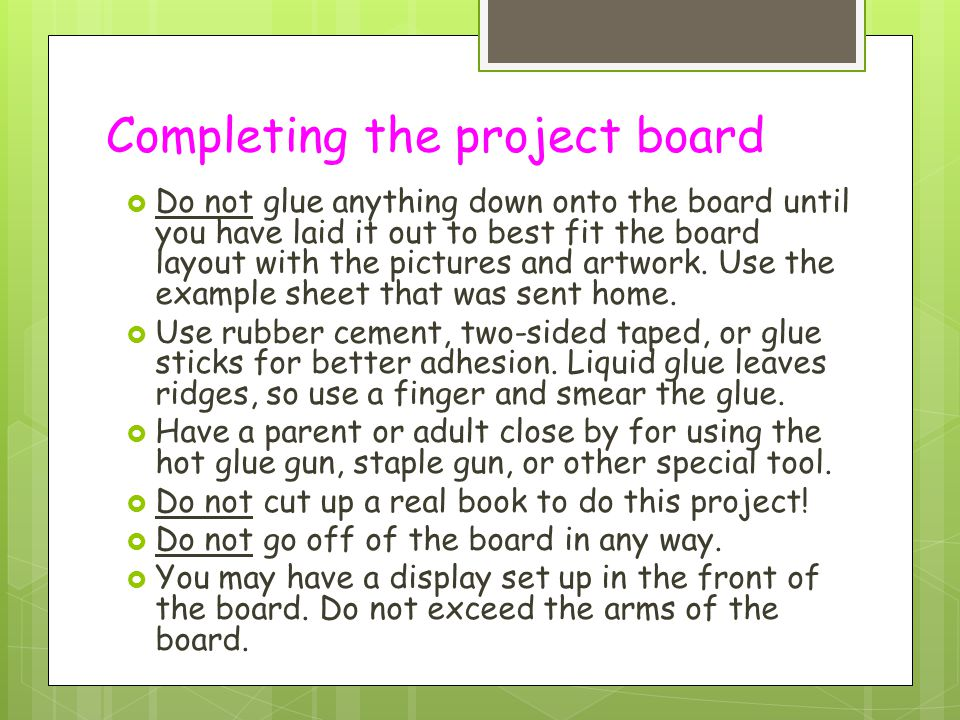 Completing the project board