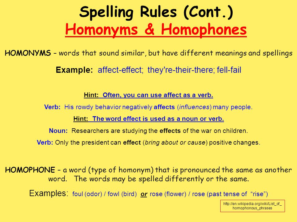 Spelling Rules (Cont.) Homonyms & Homophones