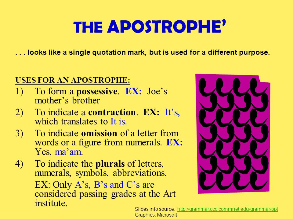 THE APOSTROPHE' To form a possessive. EX: Joe's mother's brother