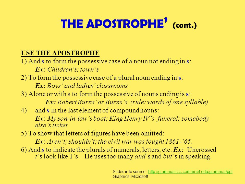 THE APOSTROPHE' (cont.)