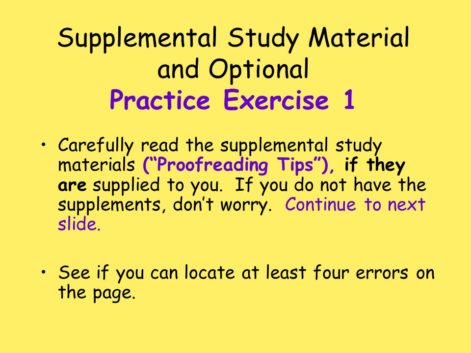 Supplemental Study Material and Optional Practice Exercise 1
